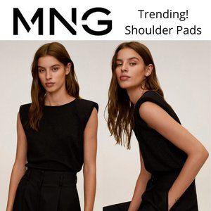Mango Black Shoulder Pads Shimmer Top Trending!